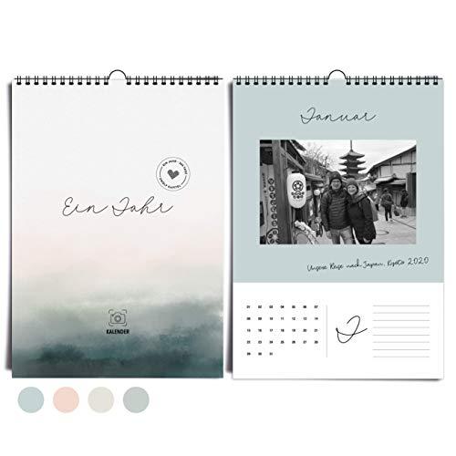 Edler DIN A4 Wandkalender immerwährend I ohne Jahr I von heaven+paper® | Fotokalender Aqua Mood in kühlen Farben, modern & elegant | Idealer Jahreskalender zum selbst gestalten & verschenken