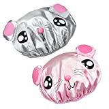 Nument 2 Pack Double-Layer Waterproof Shower Cap Bath Cap Elastic Band Spa Cartoon Shower Hat for kids girls (pink+gray for kids)