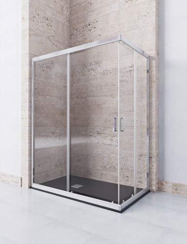 Eck-Duschwand mit 2 festen Gläsern und 2 Schiebetüren - 6mm ESG-Sicherheitsglas mit Antikalk - DION