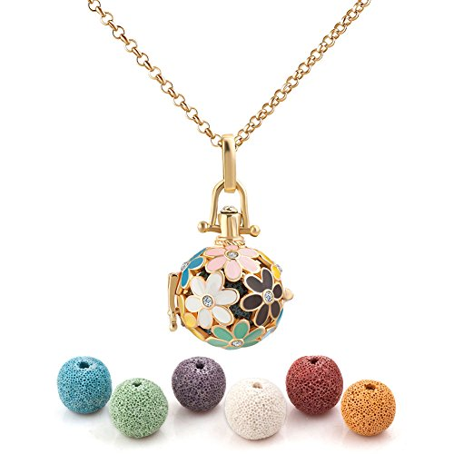 Cherris Jewellery Flower Lava Stone Aromatherapy Essential Oil Diffuser Necklace Antique Locket Pendant with 32' Snake Chain and 6 Cashmere Sustained Release Ball (color-3)