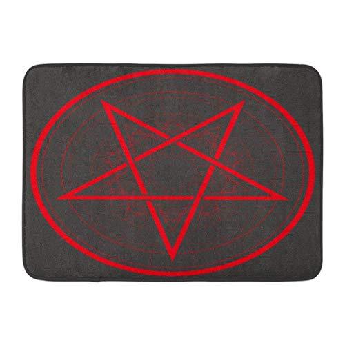 LINFENG Felpudos Satan Baphomet Estrella Pentagrama invertido Signo satánico Amuleto gótico Astrología 23.6x15.7 Pulgadas;
