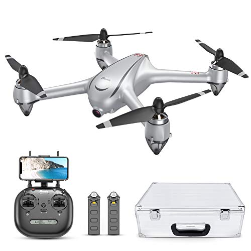 Potensic D80 Drone with Camera for Adults, GPS FPV Drone 2K FHD Camera, 40 Mins Quadcopter with Brushless Motor, Auto Return Home, Follow Me, Long Control Range, Includes A Carrying Case-Sliver