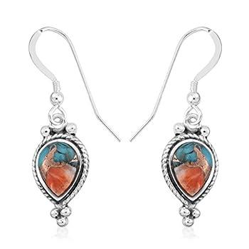 Shop LC SANTA FE Style Blue Turquoise Southwest Western Gemstone Jewelry Drop Dangle Hook Earrings 925 Sterling Silver Bohemian Birthday Gifts For Women