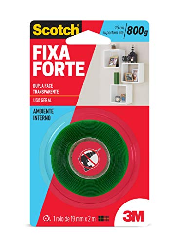 Fita Dupla Face 3M Scotch Fixa Forte Transparente - 19 mm x 2 m