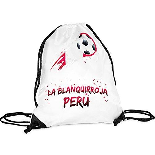 Tassendruck WM-Turnbeutel Peru/Rucksack/Hipster/Gym-Bag/Sport-Beutel/Fussball/Fahne/Flagge/Länderfarben/Beste Qualität - 25 Jahre Erfahrung