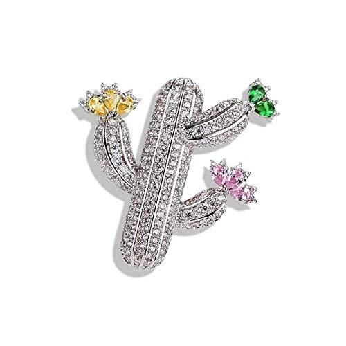 JXtong2 Spilla a forma di cactus femminile intarsiata con zirconi cubici in argento, ideale per feste, balli, attività ricreative, 4 × 3,8 cm