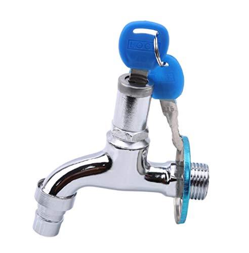 Penshuiwa Wasserhahn Anti-Diebstahl-Wasserhahn Wasserhahn mit Schloss Schlüssel Legierung/Messing Gehäuse Einloch-Schlüsselschalter Wasserhahn Bibcocks für Küche Outdoor Garden