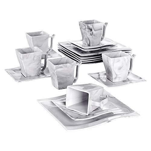 MALACASA, Serie Flora, 18 tlg. Set Marmor Porzellan Kaffeeservice Geschirrset mit je 6 Kuchenteller, 6 Tasse 220ml, 6 Untertasse für 6 Personen