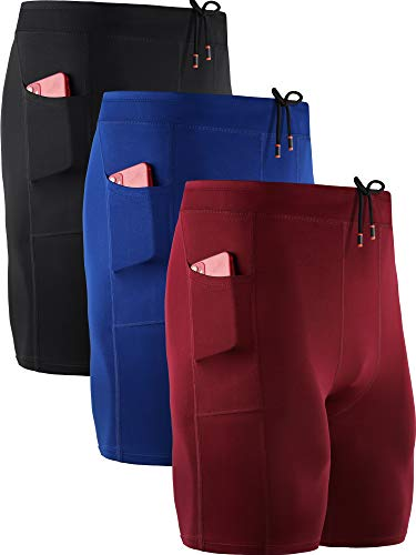 Neleus Men's 3 Pack Running Compression Shorts with Pockets,6072,Black,Blue,Red,US M,EU L