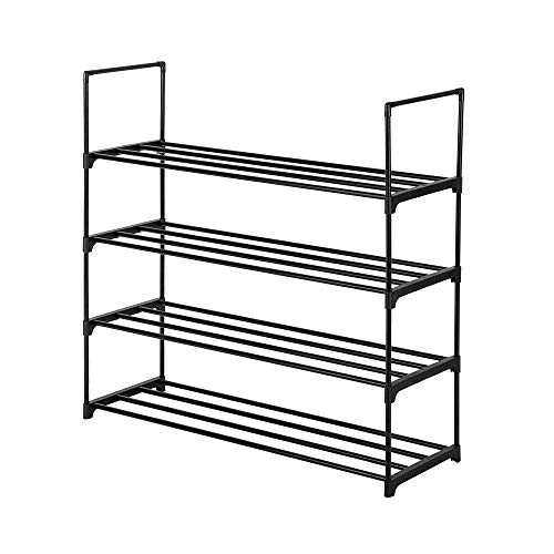 4-Tier Shoe Rack Organizer Storage Bench Stand for Mens Womens Shoes Closet with Iron Shelves Holds 20 Pairs. Hot Shoe Racks with Four Tiers Metal Shelf & Easy Assembly with no Tools.