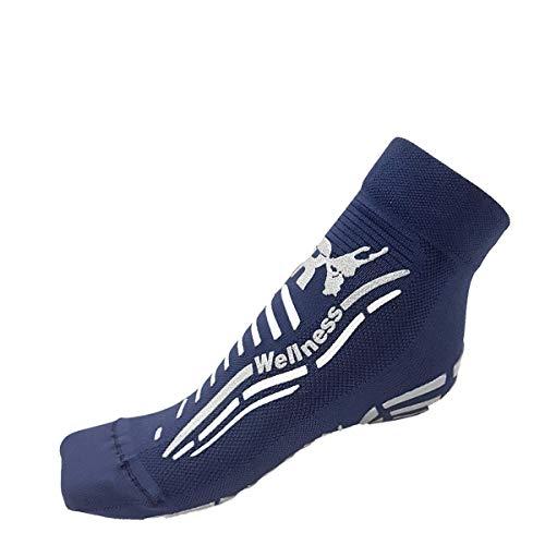R-Evenge - Calcetín deportivo técnico para todas las actividades en el gimnasio, pilates, yoga, gimnasia postural, trx, crossfit, calistagenis, antideslizante Blu/Silver 38/41 EU