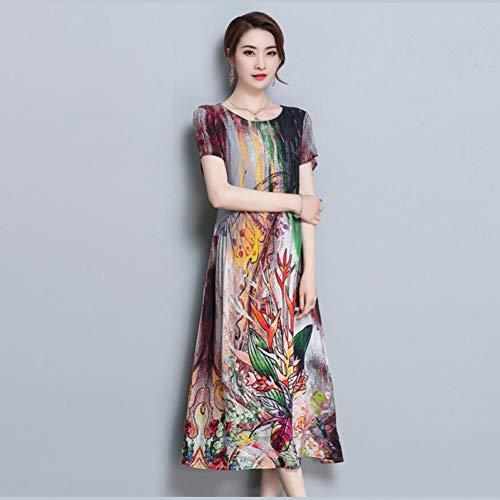 Wujiaba Blumendruck Lange Kleider Womens Kurzarm Seidenchiffon Kleid Sommer Hohe Qualität Lose Oansatz Kleidung,Multi,XXL