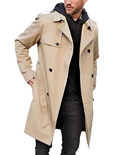 Gemijacka Mantel Herren Zweireihiger Trenchcoat mit Gurtel Business Freizeit Jacke Herren Mode, Beige, M