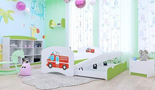 HBD Doppelbett mit 2Liegeflächen 2Matratzen FEUERWEHR verschiedene Variante (180x90 cm, Grün)