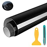 Wilktop Lámina de 5D Carbono, Lámina de Coche de Vinilo Adhesivo Acabado Alta Brillante Fibra de Carbono 5D Automóvil de Lámina de Coche de 0.16mm (152 x 50cm) Negro
