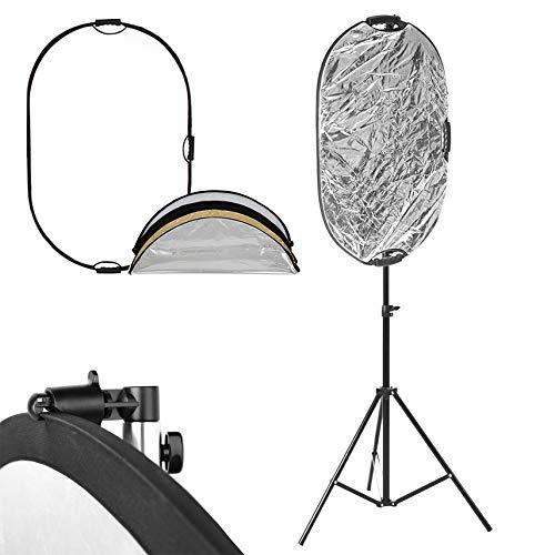 Selens 24 x 36インチ ライトリフレクタースタンドキット 写真用 5イン1 折りたたみ式リフレクター 6.6フィート ライトスタンド 反射クランプホルダー フォトビデオ スタジオ照明 屋外照明用