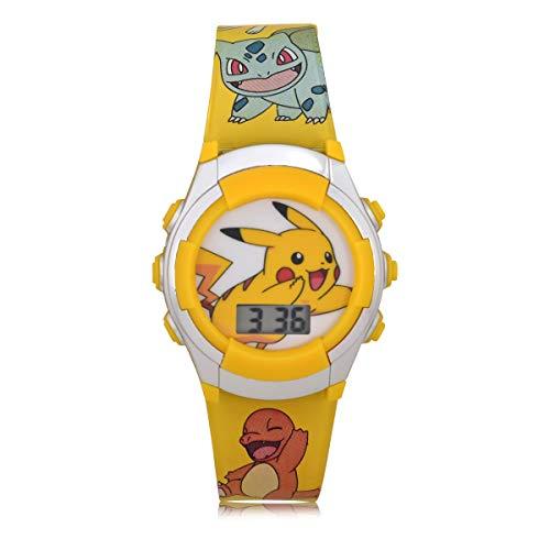 Pokemon Kids' Quartz Watch with Plastic Strap, Yellow, 16 (Model: POK4239AZ)