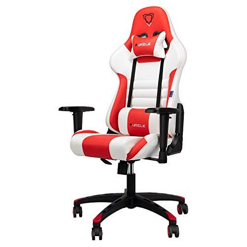 Furgle Sedia Gaming Gioco Sedie da Ufficio Girevole Ergonomica Poggiapiedi Retrattile Poltrona di PU Gaming con Poggiapiedi (White&Red)