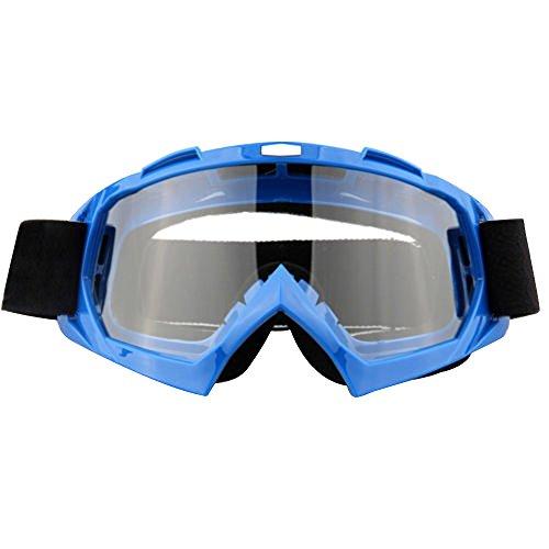 Lmeno Winter Radfahren Skibrille Transparente Linse Snowboardbrille Motorrad Motocross fahren GoggleBrille Anti Fog Winddicht Ski Goggles UV-Schutz Sonnenbrillen Augenschutzbrillen Blau