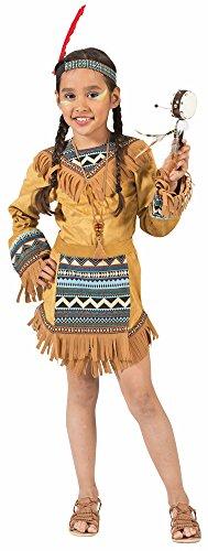 Das Kostümland Indianerin Cherokee Kostüm für Mädchen, Braun, 104