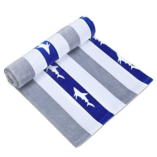 CABANANA Large Oversized Beach Towel - Velour Cotton Print 35 x 70 Inch Blue Light Gray Striped Sand Free Pool Towel, Big Summer Mens Swim Cabana Towel