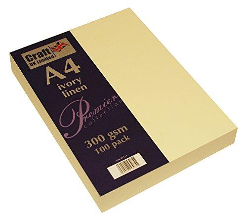 Craft UK W124 Leinenkarton, A4, 300 g/m², elfenbeinfarben, 100 Blatt