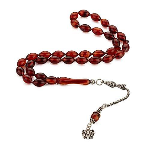 Sıkma Kehribar Osmanlı Arması Püsküllü Arpa Kesim Tesbih - Gepresste Amber Ottoman Wappen Quasten Gerste Cut Tasbih Rosenkranz Rosary