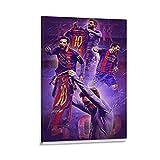 Póster de atletas deportivos Futbolista Messi Barcelona Jersey Posters para sala de estar, oficina, aula, decoración de habitación, marco, 20 x 30 cm