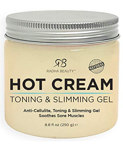 Radha Beauty Hot Cream - 100% Natural Cellulite Treatment, Toning & Slimming Gel to Burn Belly Fat for Men and Women - Deep Tissue Massage Muscle Relaxer