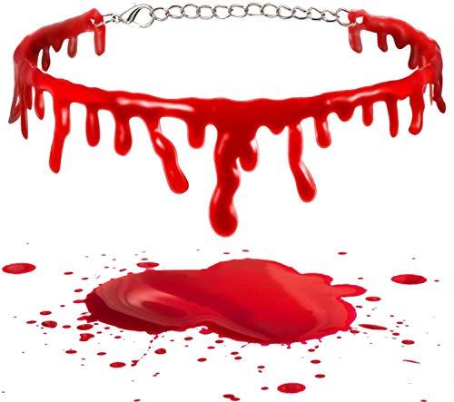 ManRS - Collar de sangre de Halloween de 2 piezas de vampiro sangre goteando cadena de sangre roja de Halloween disfraz de fiesta cosplay decoracin