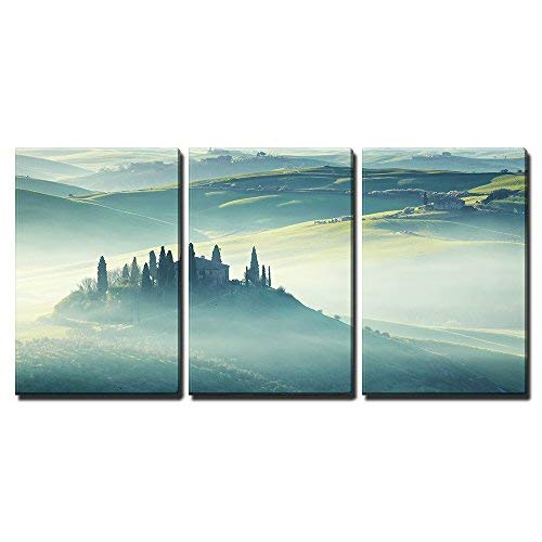 """wall26-3 Piece Canvas Wall Art - Morning on Countryside, San Quirico Dâ´Orcia, Tuscany, Italy - Modern Home Decor Stretched and Framed Ready to Hang - 24""""x36""""x3 Panels"""