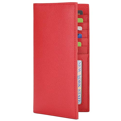 Slim Leather ID/Credit Card Holder Long Wallet with RFID Blocking - Red