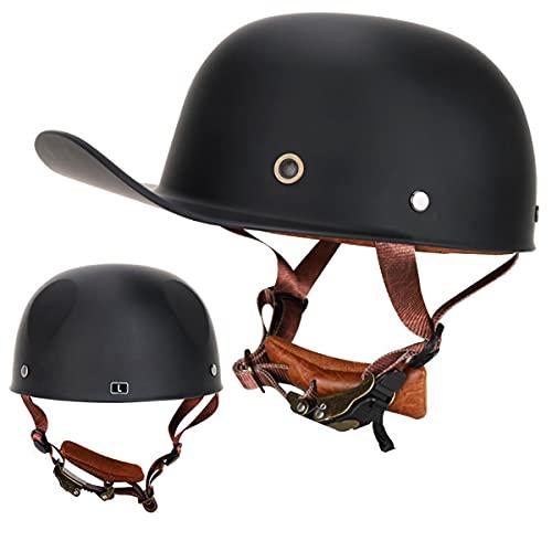 HNJ1976は、クラシックなオープンレトロハーフヘルメット、ニュートラルフォーシーズンヘルメット、レトロハーレー野球帽、ハーレーハーフヘルメット、大人の安全で快適なハーフヘルメット、オートバイスクータークルーザーヘリコプターマシェットDOT認定に適しています (A02#, L)