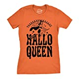 Crazy Dog T-Shirts Womens HalloQueen Shirt Funny Halloween Queen Tee for Ladies Cute Costume T Shirt (Orange) - L