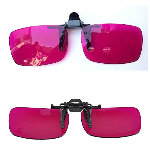 Atingsh Red-Green Color Blind Glasses Flip Clip Colorblindness Corrective Resin Pink Lenses Both Outdoor Indoor Use