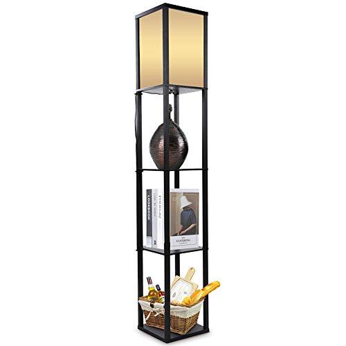 Oak Wooden Floor Lamp with 3Tiers Shelf, Free Standing Floor Stand with Lamp 159*26*26cm, Modern Reading Resting Studying Floor Shelf Standing Lamp for Livingroom Bedroom Hallway Office(Black)
