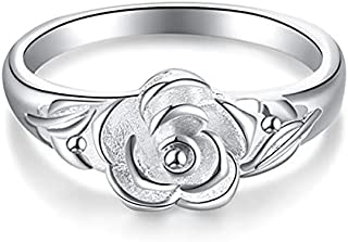 Women vintage Rose Flower 925 Silver Plated Rings jewelry Party wedding Rings jewelry gift
