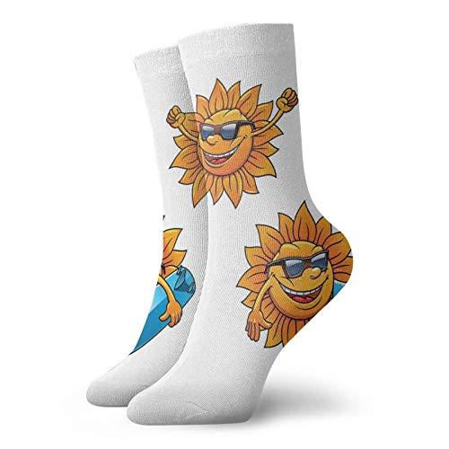 Calcetines suaves de longitud media de pantorrilla, personajes de sol de surf con sombras y tablas de surf, divertidos y hippie para decoración de verano, calcetines para hombres y mujeres