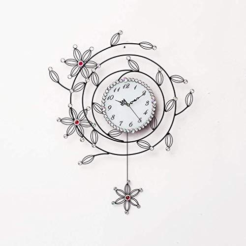 MingXinJia Relojes de Cabecera para el Hogar Reloj de Péndulo, Grandes Relojes de Pared Arte 3D Cristal Hierro Forjado Reloj de Pared de Cuarzo Silencioso para el Hogar Sala de Estar Relojes con Pers