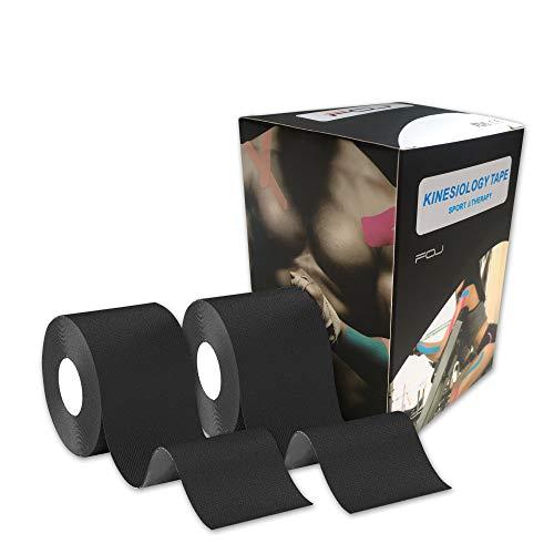 テーピングテープ キネシオ テープ 筋肉・関節をサポート 伸縮性強い 汗に強い パフォーマンスを高める 5cm×5m … (2*黒)