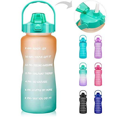 Mosako Botella de agua Inspirante con horodato y pajita de plástico resistente al agua, sin BPA, 2 L, apta para mujeres y hombres (degradado naranja-azul)
