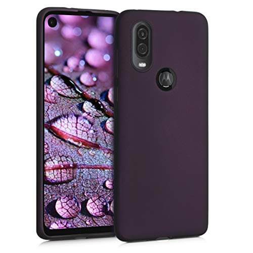 kwmobile TPU Silicone Case Compatible with Motorola One Vision - Soft Flexible Protective Phone Cover - Metallic Berry