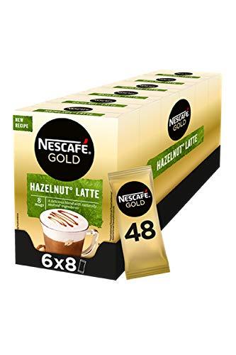 Nescafé Gold Hazelnoot Latte oploskoffie – 6 doosjes à 8 zakjes
