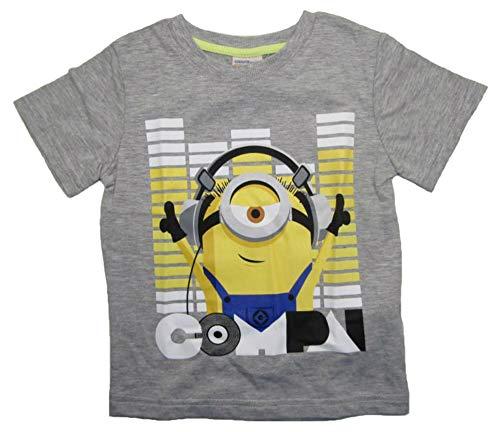 Minions - Despicable Me Jungen Kurzarm Shirt Kinder T-Shirt Buben Kopfhörer Ich einfach unverbesserlich (grau, 104)