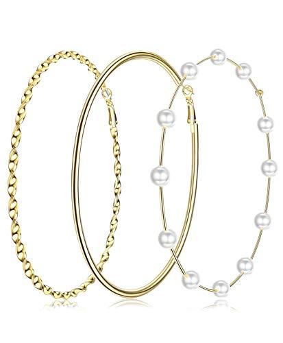 RnBLM JEWELRY 3 Pairs 14K Gold Plated Extra Large Basketball Hoop Earrings for Women Big Hoop Pearl Earring Twisted Round Clicktop Hoop Earring Large Thin Hoop Earrings in One Set