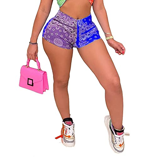 ArcherWlh Legging Push Up,Ins Europa und die Vereinigten Staaten Neues Gefühl der kurzen Hosen Muster Drucken Mode Casual Hip Yoga Hosen Weiblich-# 8 lila + Schatz blau_XL.