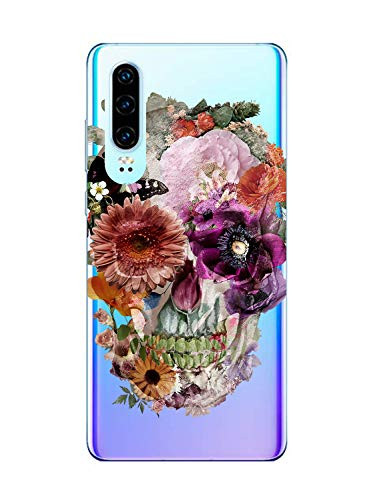 Oihxse Clair Crystal Soft Silicone Compatible pour Motorola Moto One Power/P30 Note Coque Transparente TPU Crâne Rose Motif Design Housse Ultra Mince Protection Antichoc Etui(E10)