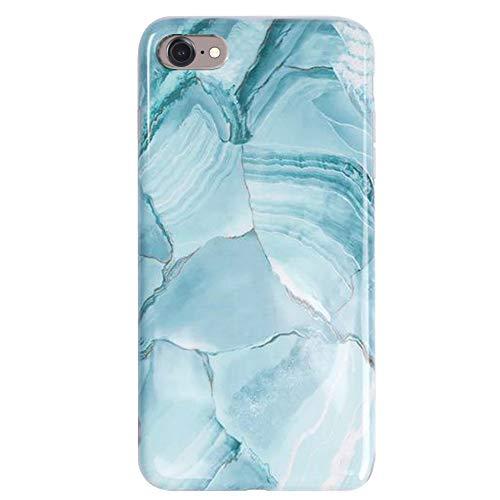 MoreChioce MoreChioce kompatibel mit iPhone 7 Hülle, iPhone 8 Hülle Glitzer,Niedlich Kreativ 3D Blau Mandala Bling Strass Weiche Silikon Handyhülle Glitzern Sparkle TPU Case Defender Bumper