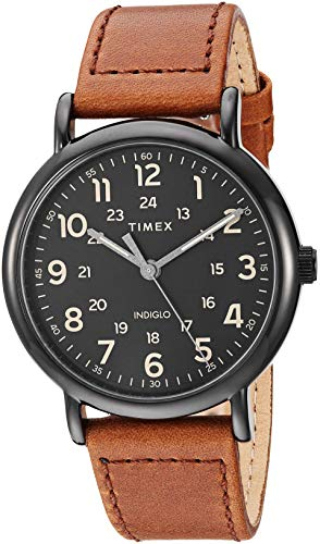 Timex Men's TW2T30500 Weekender 40mm Brown/Black Two-Piece Leather Strap Watch