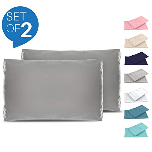 Set de 2 x Taie d'oreiller 50 x 70 cm, Gris Anthracite, Microfibre (100% Polyester) - Taies d'Oreillers - Housse d'Oreiller Coussin pour le Lit - Taie Oreiller Qualité Confortable Hypoallergénique